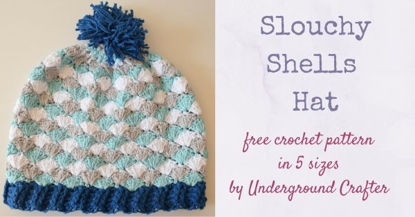 Free crochet pattern: Slouchy Shells Hat in Paintbox Cotton Aran yarn in 5 sizes by Underground Crafter | Stripes and shells keep things interesting in this slouchy hat.
