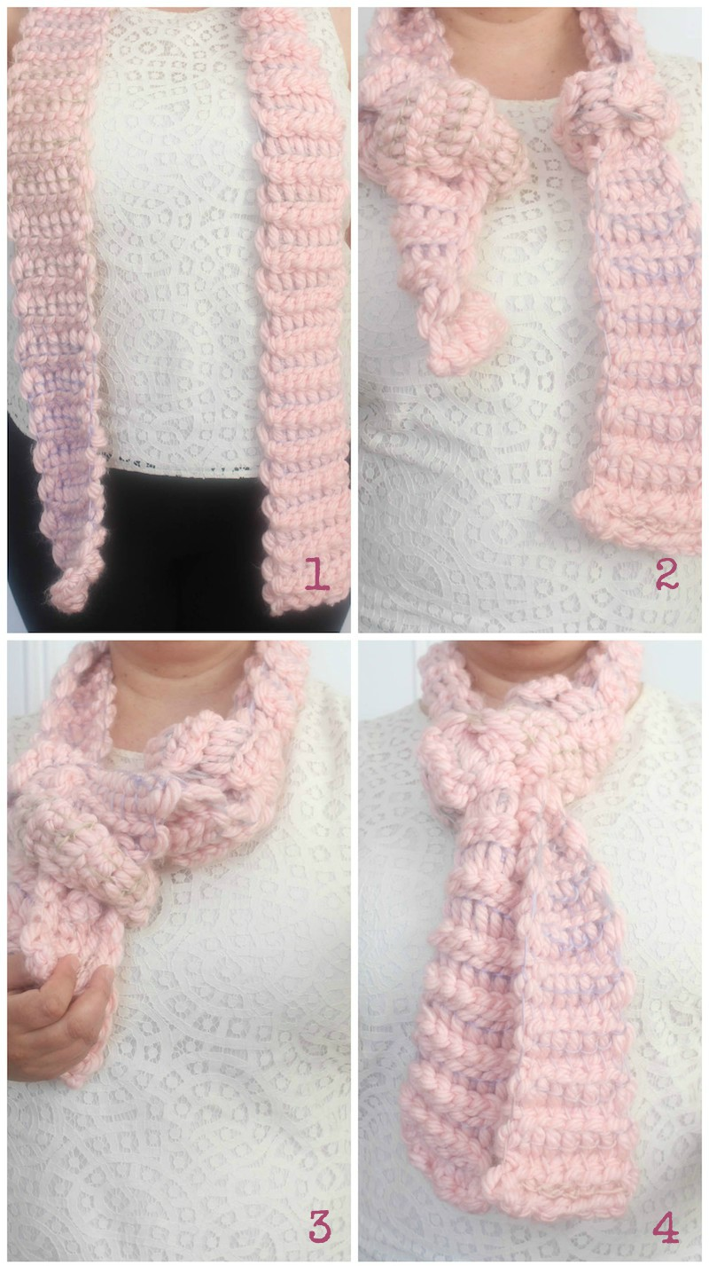 3 Ways to Tie a Rectangular Scarf with 17 Free Crochet Patterns to Inspire You via Underground Crafter - Inspired by a Necktie