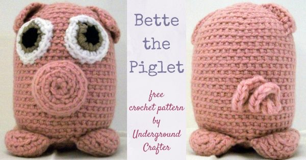 Free crochet pattern: Bette the Piglet amigurumi by Underground Crafter | This little piggy has Bette Davis eyes and a curlicue tail.