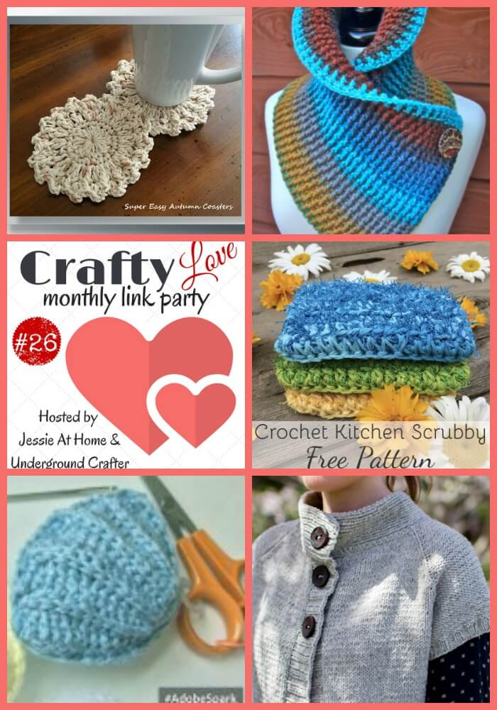 Crafty Love Link Party 26 (October, 2017) - Share your latest crafty projects, tips, tutorials, and patterns with Jessie At Home and Underground Crafter through October 26, 2017, and check out the featured projects from last month by Crochet Memories, Nana's Crafty Home, CAAB Crochet, Olena Huffmire Designs, and Knit Read Pray.