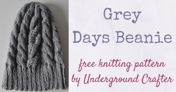 Free knitting pattern: Grey Days Beanie in Mountain Meadow Wool Alpine by Underground Crafter | This stretchy hat with distinctive cables will keep your head cozy.
