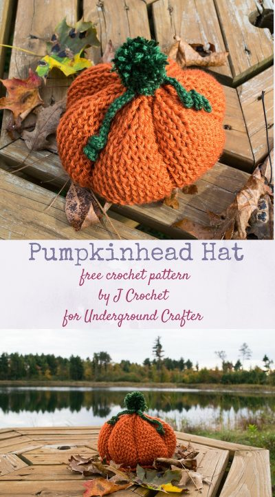 Free crochet pattern: Pumpkinhead hat in 2 infant sizes in Caron Simply Soft by J Crochet for Underground Crafter | When the weather starts cooling and the leaves are changing color, 'tis the season for the Pumpkinhead hat!