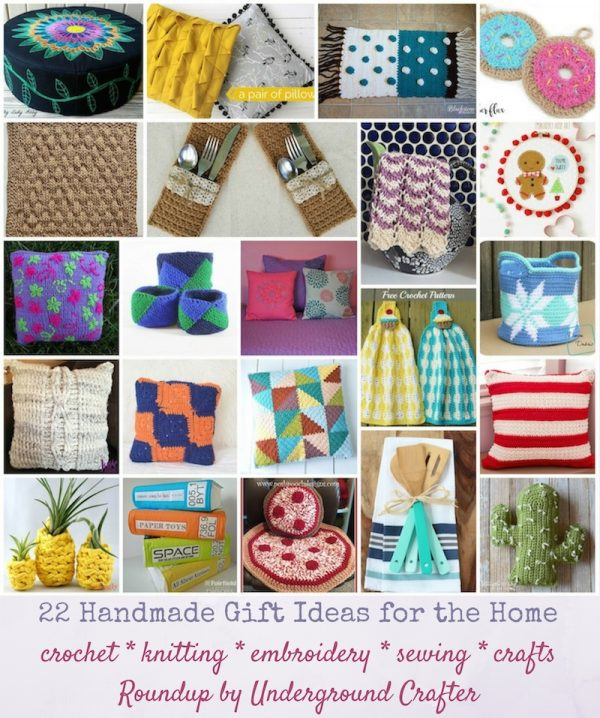 22 Handmade Gift Ideas for the Home via Underground Crafter | Find your next project in this roundup of crochet, knitting, sewing, embroidery, and other craft projects for the home, including pillows, table settings, towels, storage baskets, and more!