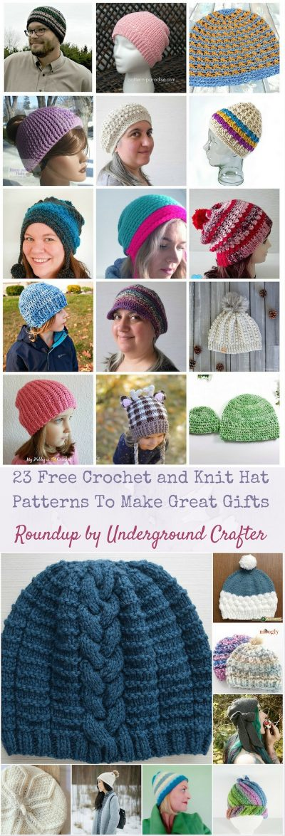 Roundup: 23 Free Crochet and Knit Hat Patterns To Make Great Gifts via Underground Crafter | Find your next project in this roundup featuring berets, slouchy hats, beanies, earflap hats, and more!