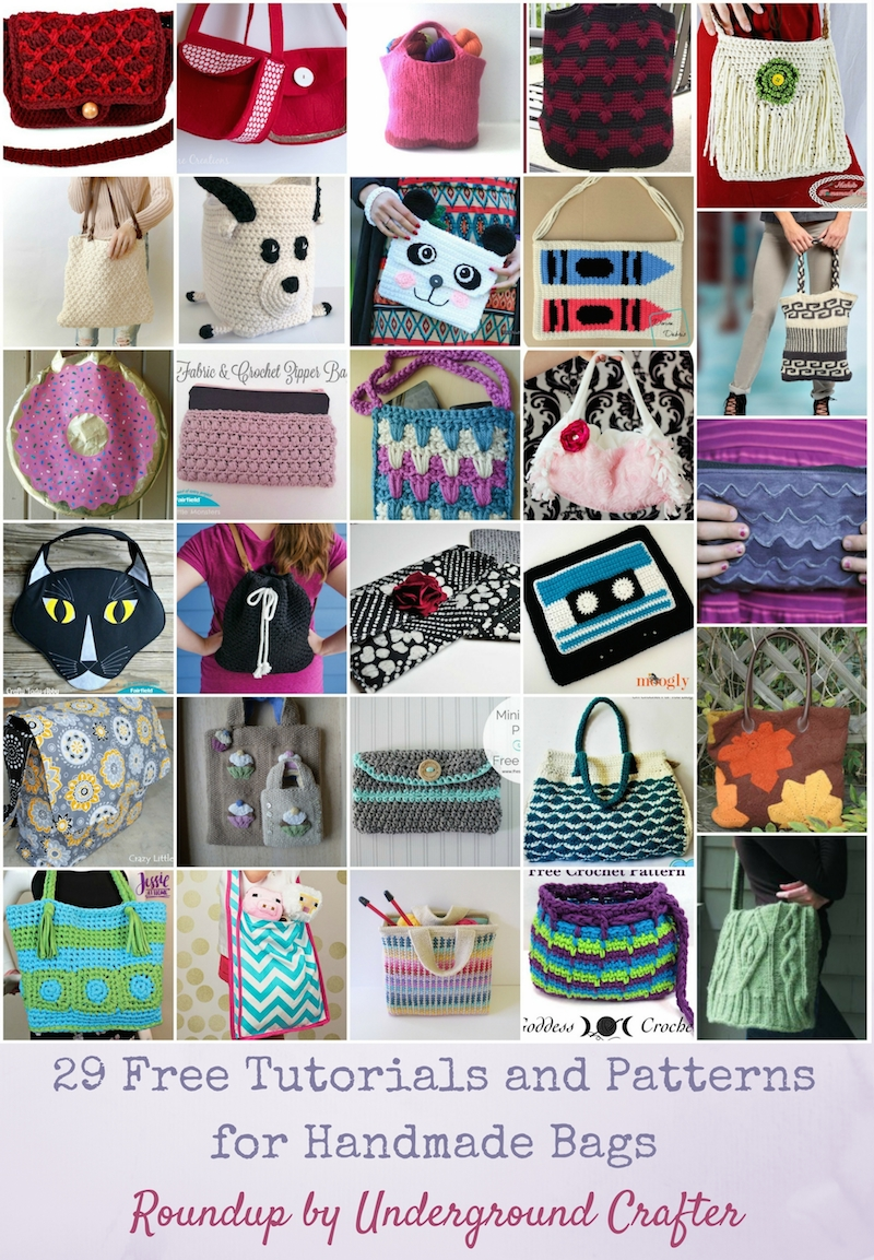 29 Free Tutorials and Patterns for Handmade Bags via Underground Crafter - Find your next project in this roundup featuring free fabric, crochet, and knitting patterns and tutorials for totes, messenger bags, clutches, purses, and more!