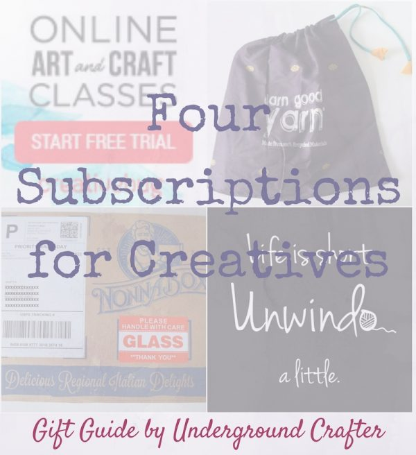 Gift Guide: 4 Subscriptions for Creatives - Subscriptions are fun gifts because they keep on giving throughout the year. Creative types love to make things, so gifts that are filled with creative ideas or supplies will keep them inspired. This roundup includes digital subscriptions and subscription boxes. Includes gift ideas for foodies, crocheters, knitters, sewists and quilters, and crafters of all kinds!