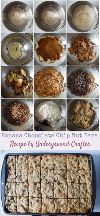 Banana Chocolate Chip Nut Bars recipe by Underground Crafter | These tasty bars are a great way to use up over-ripe bananas.