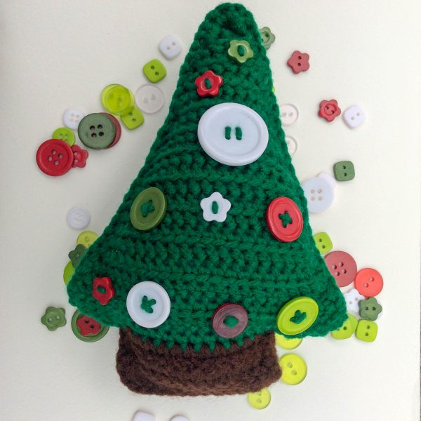 Button Christmas Tree, free crochet pattern by Underground Crafter in Red Heart Super Saver yarn with Oriental Trading Christmas Bag of Buttons.