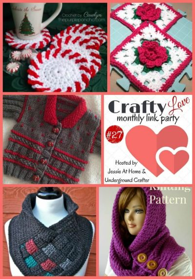 Crafty Love Link Party 27 (November 27): Share your latest crafty projects, tips, tutorials, WIPs, and patterns through November 30, 2017 and check out the five featured projects from last month, including crochet and knitting patterns by The Purple Poncho, Posh Pooch Designs, Season Knits, Nana's Crafty Home, and Lilia Craft Party.