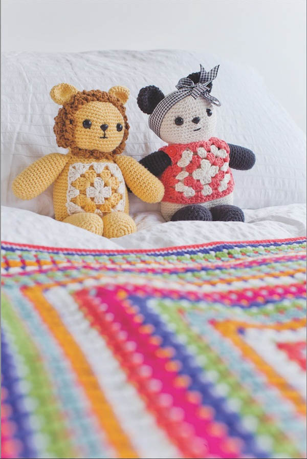 Free crochet pattern: Cuddly Lion and Panda by Emma Varnam from her book, Granny Squares Home, via Underground Crafter