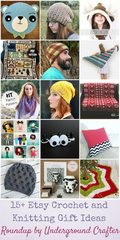 15+ Etsy Crochet and Knitting Gift Ideas for the Holidays via Underground Crafter   Find a great gift in this roundup featuring crochet patterns for instant download, crochet and knitting kits and supplies to gift a fellow crafter, and handmade hats if you run out of time to make your own gift.
