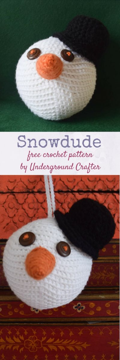Free crochet pattern: Snowdude in Red Heart Super Saver by Underground Crafter | This amigurumi snowdude's head makes a perfect stress ball or ornament when stuffed with Fairfield Poly-Fil Crafter's Choice Dry Polyester Packing Fiber Fill.