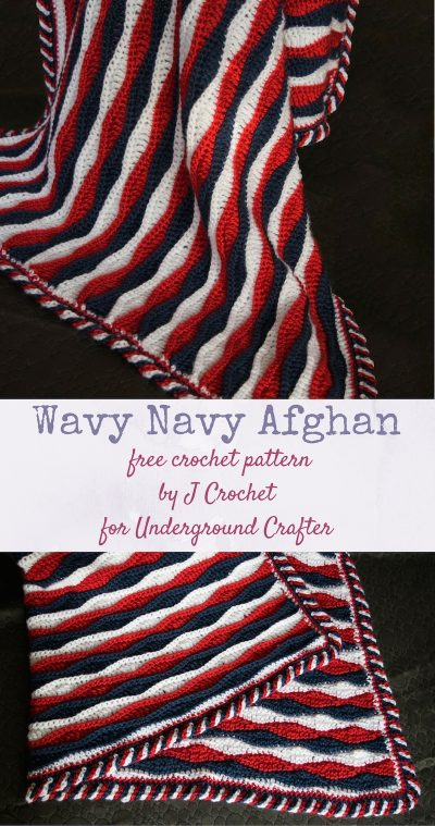 Free crochet pattern: Wavy Navy Afghan in Caron Simply Soft yarn by J Crochet via Underground Crafter   This tri-color blanket has a delightful candy cane border and includes instructions in U.S. terms and with international stitch symbol charts.