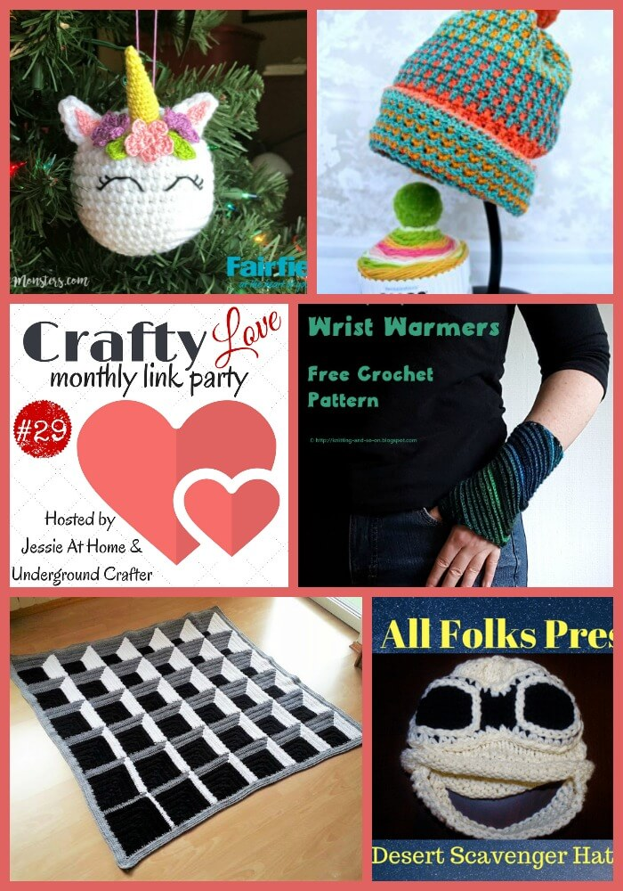 Crafty Love Link Party 29 (January, 2018) with Jessie At Home and Underground Crafter | Share your latest projects, WIPs, tips, tutorials, and patterns through January 25, 2018. Check out the five most popular posts from last month's party, including free crochet and knitting patterns and inspiration by 5 Little Monsters, Nana's Crafty Home, Knitting and so on, Häkelfieber, and Knit's All Folks!