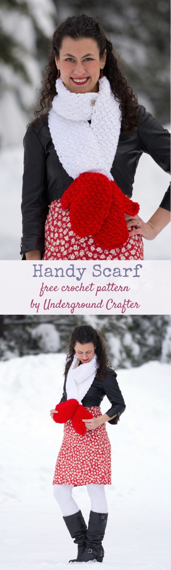 Free crochet pattern: Handy Scarf in Red Heart Super Saver yarn by Underground Crafter | This cozy keyhole scarf features two mock mittens at the end. This pattern is part of the Crochet Charity Drive with Blackstone Designs. Find the Crochet Charity Drive group on Facebook!