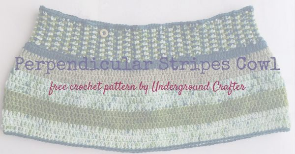 Free crochet pattern: Perpendicular Stripes Cowl in Lorna's Laces Shepherd Sock yarn by Underground Crafter | Simple stitches highlight stunning yarn colors in this feminine, buttoned cowl. This is a great pattern for using up sock yarn scraps!