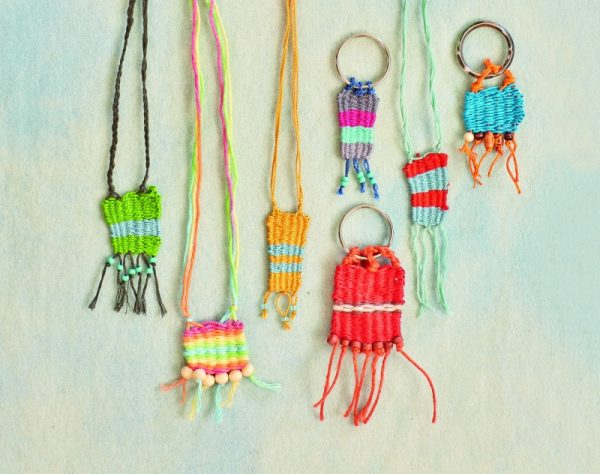 Stitch Camp: 18 Crafty Projects for Kids & Tweens by Nicole Blum and Catherine Newman book review on Underground Crafter with excerpted weaving project: Beaded Key Fob or Necklace | Find out more about this book that with tween- and teen-friendly sewing, knitting, crocheting, felting, embroidery, and weaving projects and tutorials