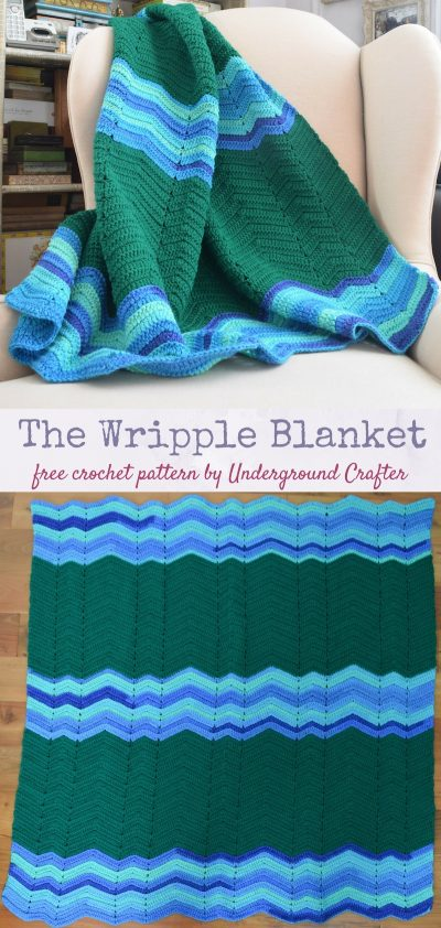 Free crochet pattern: The Wripple Blanket in Red Heart Super Saver and Red Heart Super Saver Stripes by Underground Crafter | This easy peasy blanket features stretched, W-shaped ripples.