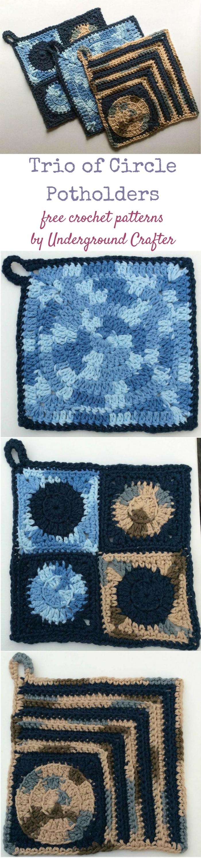Crochet Patterns Trio Of Circle Potholders Underground Crafter