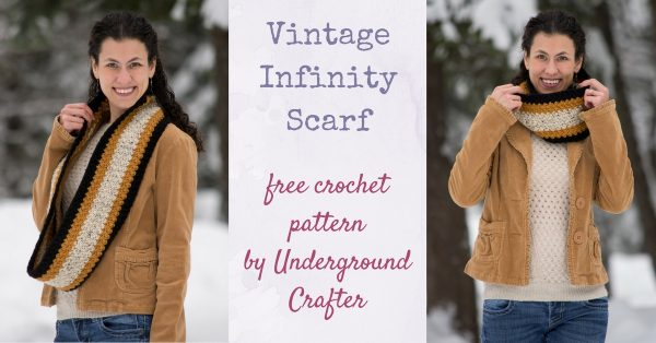 Free crochet pattern: Vintage Infinity Scarf in Lion Brand Vanna's Choice by Underground Crafter | A simple stitch pattern and a retro color combination create a cozy, unisex scarf that can be worn straight or seamed into an infinity scarf.