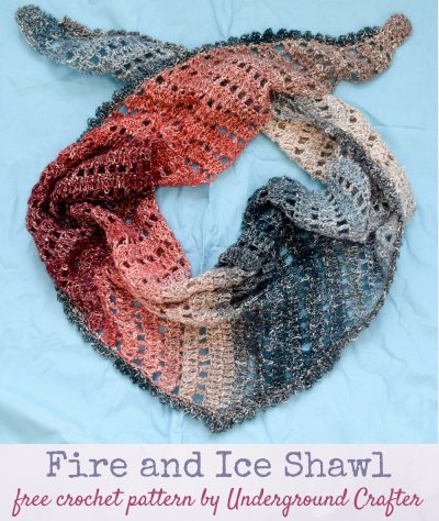 (Multicolor triangular shawl displayed against a blue background.) Free crochet pattern: Fire and Ice Shawl in Lion Brand Shawl in a Ball Metallic yarn by Underground Crafter   This simple, triangular shawl shines in a self-striping, metallic yarn.