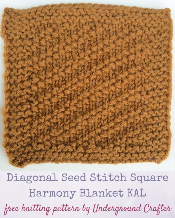 "Free knitting pattern: Diagonal Seed Stitch Square in Lion Brand Vanna's Choice yarn by Underground Crafter | This traveling stitch pattern features the seed stitch. It's the first square in the Harmony Blanket Knit Along featuring 48 free knitting patterns for 6"" (15 cm) squares by 13 designers. #KALCorner #knitting #lionbrandyarn"