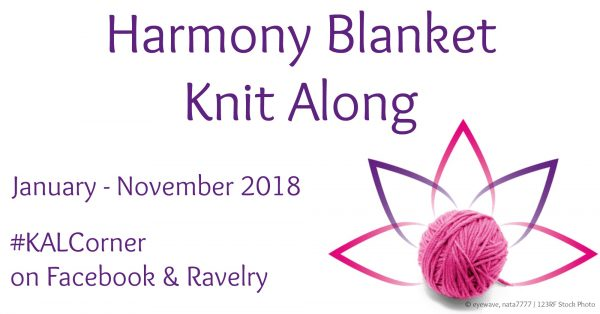 "Harmony Blanket Knit Along with KAL Corner | Join us each Thursday from January through November 2018 as we release a new, free knitting pattern for a 6"" (15 cm) square in Lion Brand Vanna's Choice yarn. Get 48 free knitting patterns by 13 designers to join into a baby blanket, or make fewer or more squares for a different sized project. For more details, visit Underground Crafter or join the KAL Corner group on Facebook. #KALCorner #knitting"