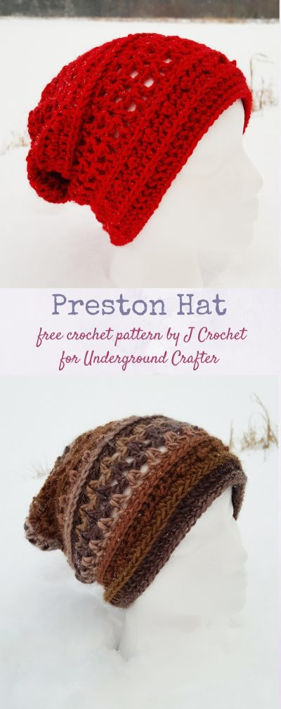 Red and brown crochet slouchy hats on mannequin heads. | Preston Hat, free crochet pattern by J Crochet for Underground Crafter