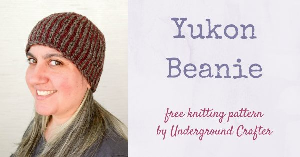 Free knitting pattern: Yukon Beanie by Underground Crafter | This beginner-friendly stranded knitting project features eye-catching vertical stripes.
