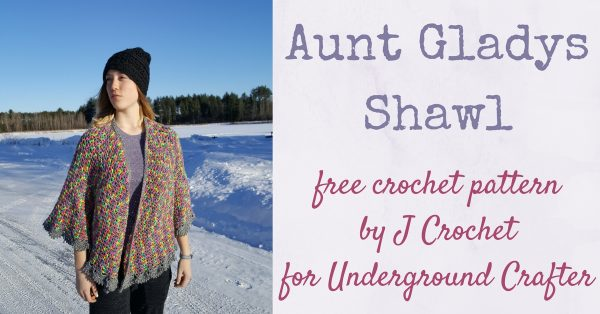 Teen girl wearing black crochet hat and multi-color crochet shawl standing in the snow | Free crochet pattern: Aunt Gladys Shawl by J Crochet for Underground Crafter
