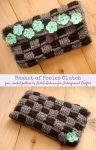 Black and gray crochet clutch with green applique flowers attached | Free crochet pattern: Basket of Posies Clutch by BellaTu Boheme for Underground Crafter