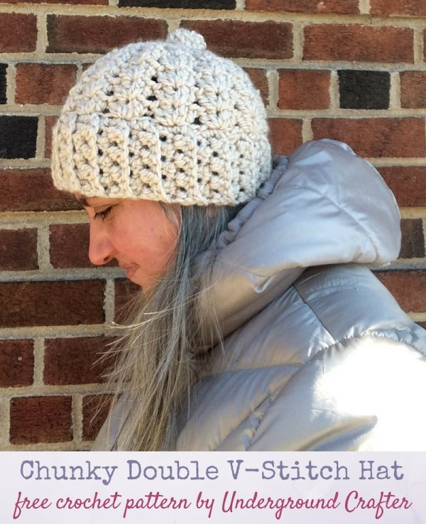 Chunky Double V-Stitch Hat by Marie @ Underground Crafter