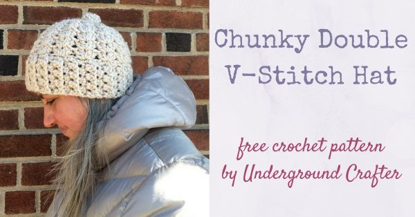Profile of woman in lacy crochet hat in chunky yarn | Free crochet pattern: Chunky Double V-Stitch Hat in Sprightly Acrylic Super Bulky yarn by Underground Crafter