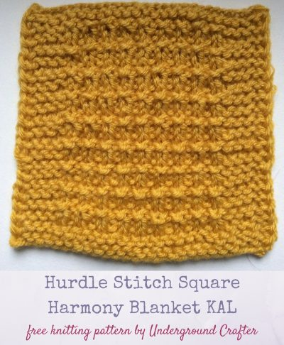 Mustard-yellow textured knit square on white background | Free knitting pattern: Hurdle Stitch Square in Lion Brand Vanna's Choice yarn by Underground Crafter