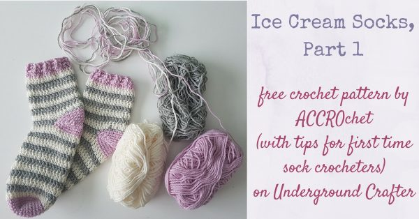 Striped crochet socks next to 3 balls of yarn | Free crochet pattern: Ice Cream Socks, Part 1 by ACCROchet (with tips for first-time sock crocheters) on Underground Crafter