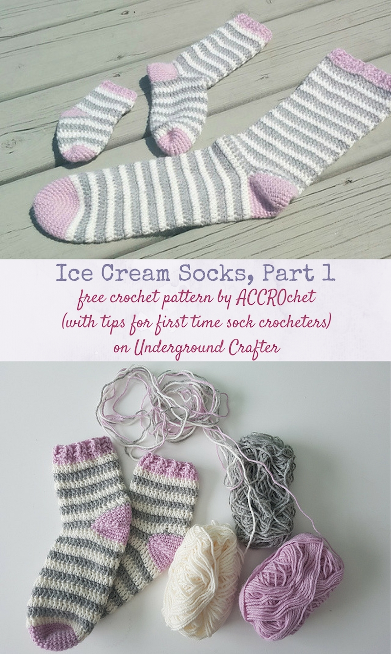 Two photos of striped crochet socks | Woman holding many crochet hooks in front of her face | Free crochet pattern: Ice Cream Socks, Part 1 by ACCROchet (with tips for first-time sock crocheters) on Underground Crafter
