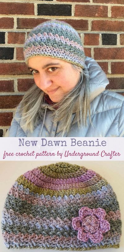 Profile of woman wearing multi-color crochet hat while looking downwards and standing against brick wall in a silver coat/Same hat photographed with floral applique flat on off-white surface. | Free crochet pattern: New Dawn Beanie in Sprightly Spectrum Worsted yarn by Underground Crafter