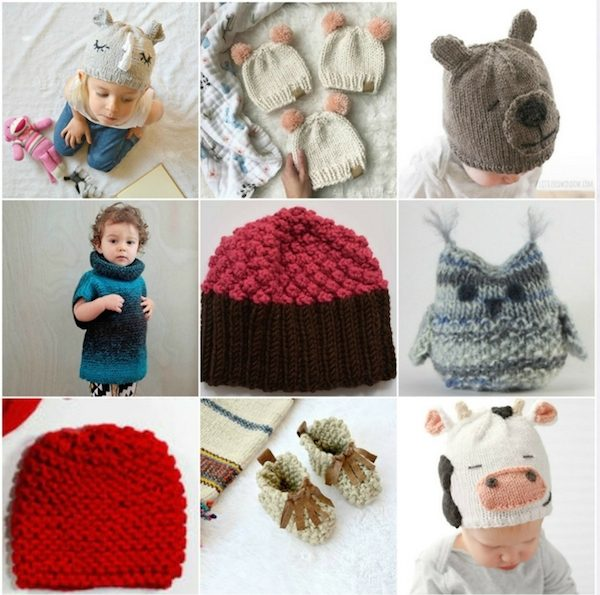 Collage of knit projects for babies and kids | Roundup: 9 Adorable Free Knitting Patterns for Babies and Kids via Underground Crafter