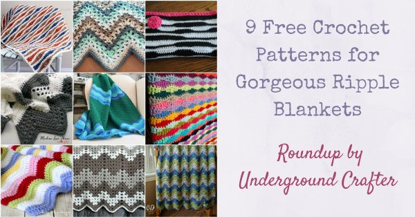 Collage of crocheted ripple blankets | Roundup: 9 Free Crochet Patterns for Gorgeous Ripple Blankets