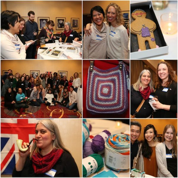Collage of images from LoveCrafts The Flock Party in New York City in January, 2018 | Free crochet pattern: Ombré Shells Hat in Willow & Lark Ramble by Underground Crafter