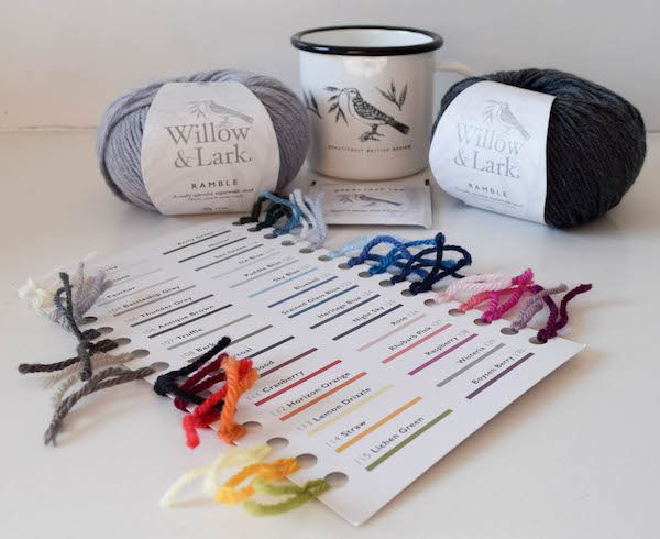 2 skeins of Willow & Lark Ramble yarn, branded mug, and yarn color card | Free crochet pattern: Ombré Shells Hat in Willow & Lark Ramble by Underground Crafter