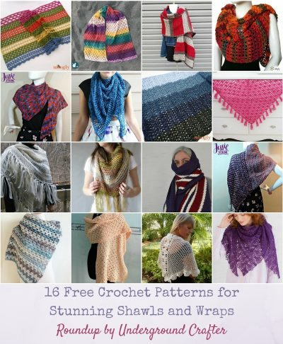 Collage of 16 crochet wraps and shawls | Roundup: 16 Free Crochet Patterns for Stunning Wraps and Shawls via Underground Crafter