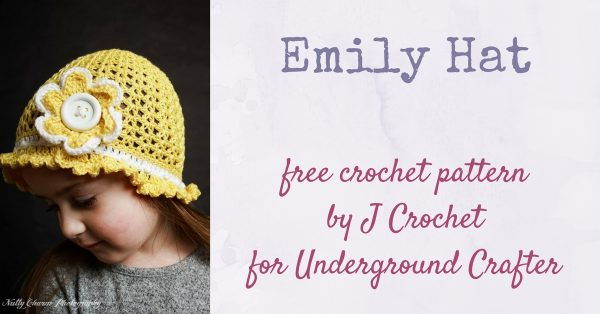 Young girl wearing yellow crochet hat with flower | Free crochet pattern: Emily Hat by J Crochet in Cascade Ultra Pima Fine for Underground Crafter