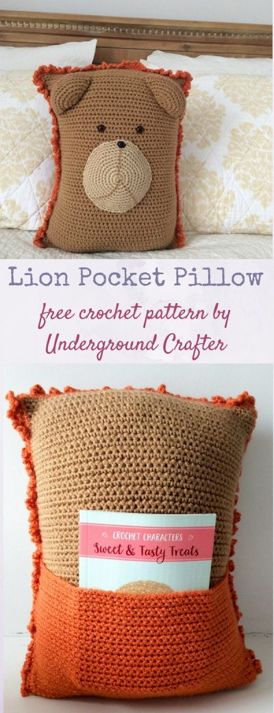 Free crochet pattern: Lion Pocket Pillow in Red Heart Super Saver yarn and stuffed with Fairfield Original Poly-Fil by Underground Crafter. This pattern is one of 10 free crochet patterns by 10 designers in the 2018 Softie Crochet Along with CAL Central