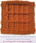 Free knitting pattern: Slip Stitch Garter Stitch Boxes Square in Lion Brand Vanna's Choice by Underground Crafter | One of 48 squares in the Harmony Blanket Knit Along.