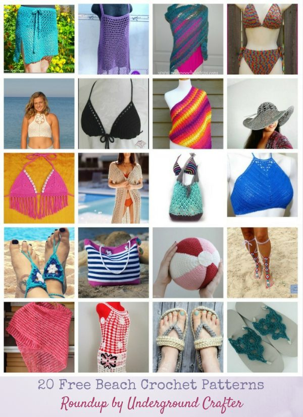 20 Free Beach Crochet Patterns: Roundup via Underground Crafter | Are you looking for some summertime crochet inspiration? You're sure to find a project that makes you want to pick up your hook in this collection including wraps and cover ups, sandals, bikini and halter tops, bags, a hat, and even a beach ball!