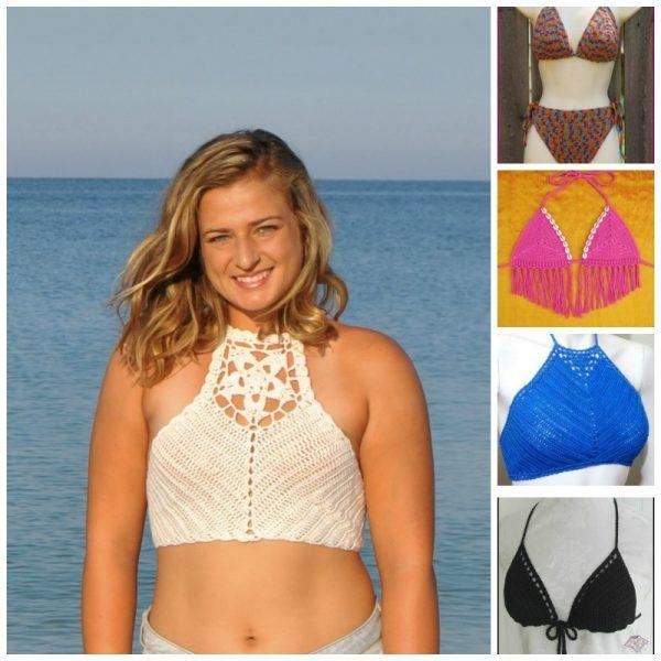 20 Free Beach Crochet Patterns: Roundup via Underground Crafter | 5 bikini and halter tops collage