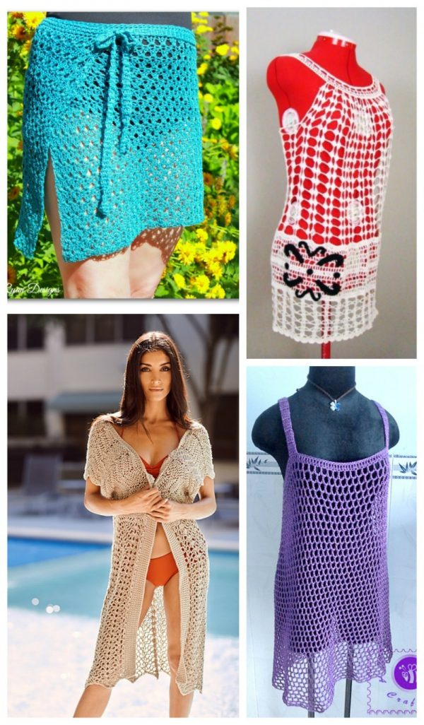 20 Free Beach Crochet Patterns: Roundup via Underground Crafter | 4 cover ups collage