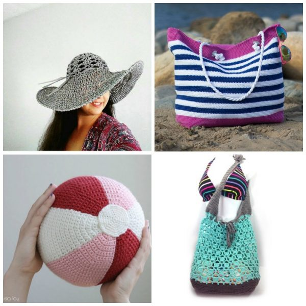 20 Free Beach Crochet Patterns: Roundup via Underground Crafter | 4 patterns for everything else collage