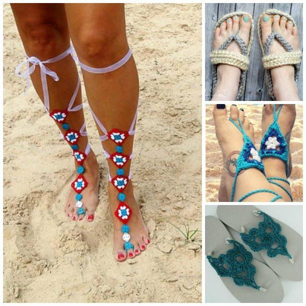 20 Free Beach Crochet Patterns: Roundup via Underground Crafter | 4 sandals collage